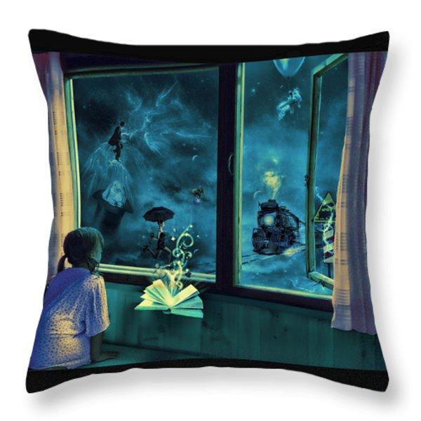 Bedtime Stories Throw Pillow by Erik Brede