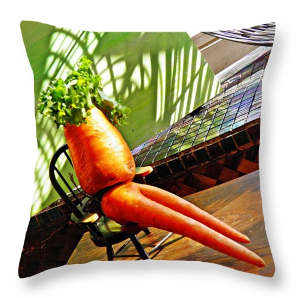 Beer Belly Carrot On A Hot Day Throw Pillow by Sarah Loft