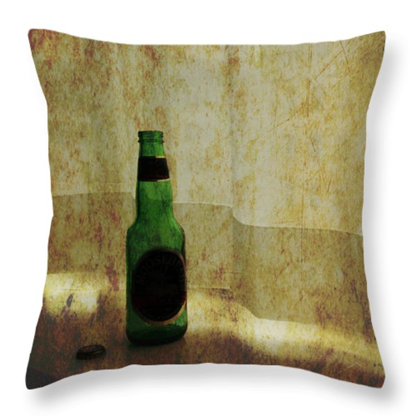 Beer Bottle On Windowsill Throw Pillow by Randall Nyhof