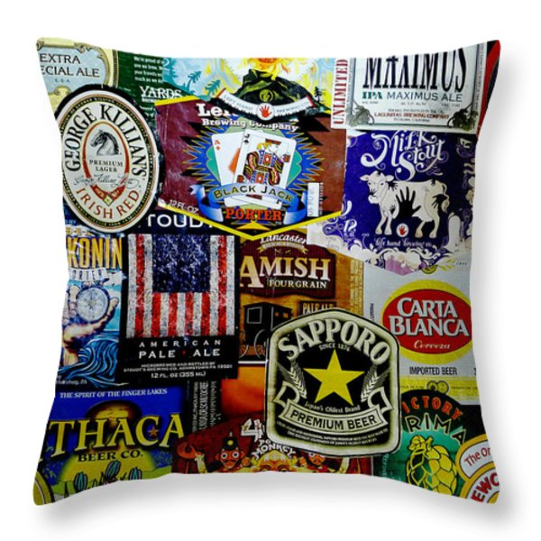 Beer Labels Throw Pillow by Richard Reeve