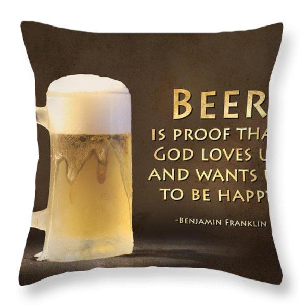 Beer Throw Pillow by Lori Deiter