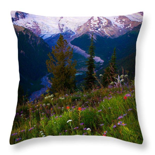 Before Dawn at Mount Rainier Throw Pillow by Inge Johnsson