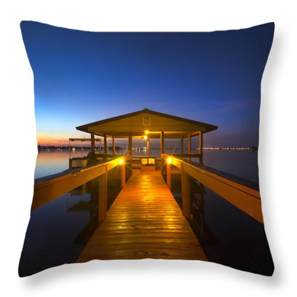 Before Dawn At The Dock Throw Pillow by Debra and Dave Vanderlaan