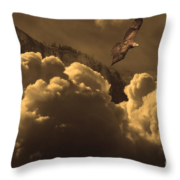 Before Memory . I Have Soared With The Hawk Throw Pillow by Wingsdomain Art and Photography