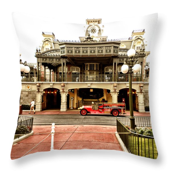 Before The Gates Open The Magic Kingdom Train Station Throw Pillow by Thomas Woolworth