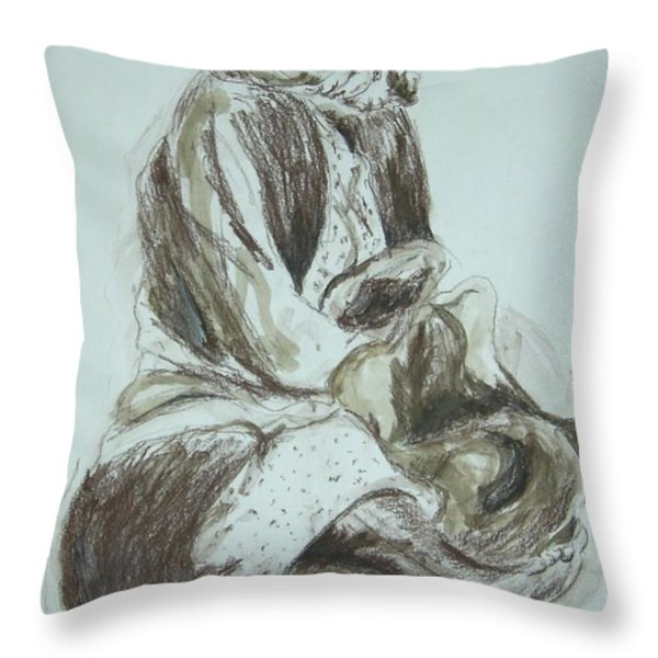 Beggar In The Ghetto Throw Pillow by Esther Newman-Cohen