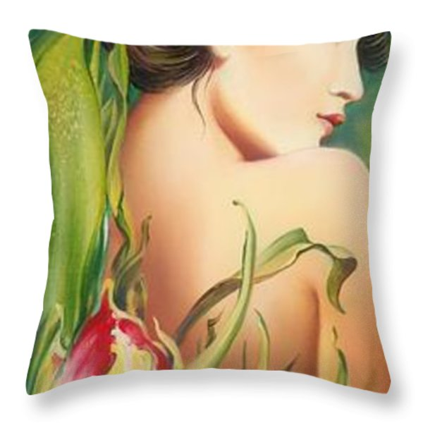 Behind The Curtain Of Colours -the Tulip Throw Pillow by Anna Ewa Miarczynska
