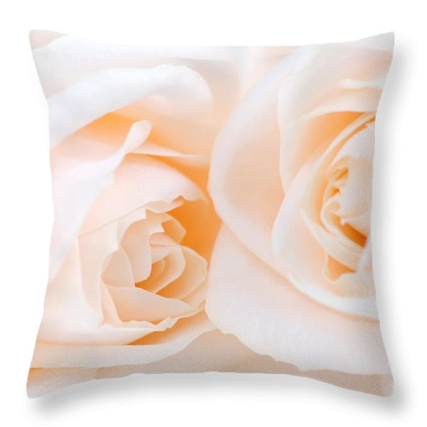 Beige roses Throw Pillow by Elena Elisseeva
