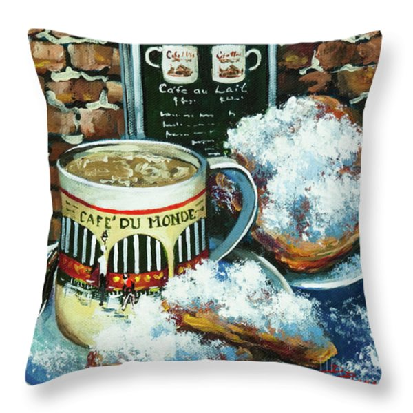 Beignets And Cafe Au Lait Throw Pillow by Dianne Parks