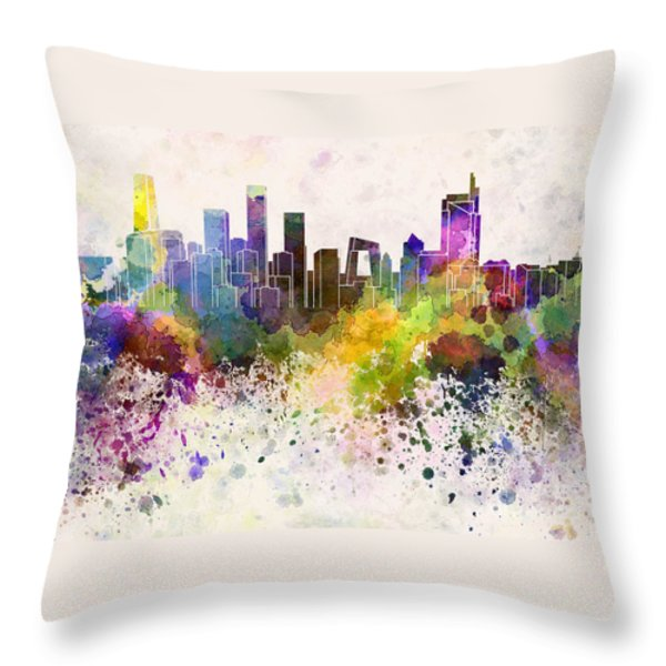 Beijing skyline in watercolor background Throw Pillow by Pablo Romero