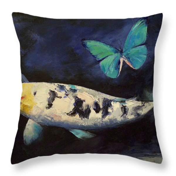 Bekko Koi and Butterfly Throw Pillow by Michael Creese