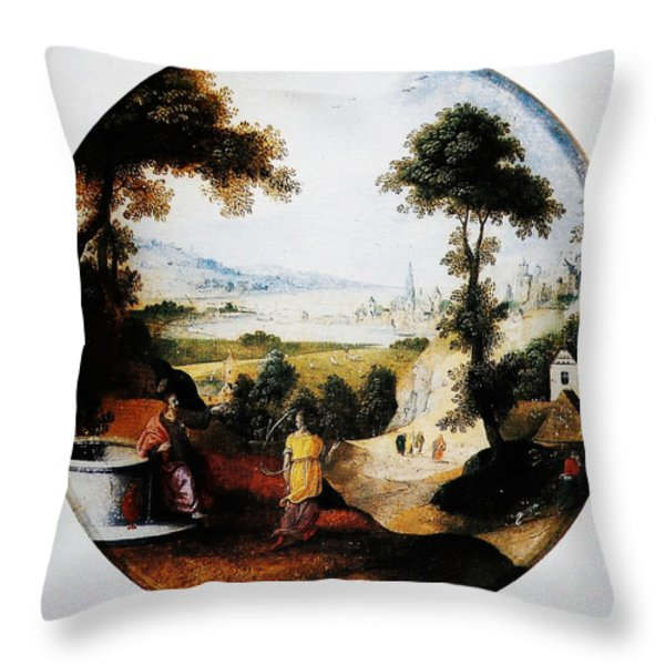 Belgium Belgian Abel Grimmer The Samaritan Woman Art Throw Pillow by MotionAge Designs
