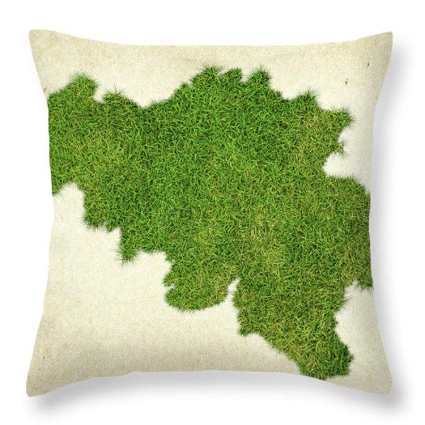 Belgium Grass Map Throw Pillow by Aged Pixel