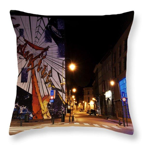 Belgium Street Art Throw Pillow by Juli Scalzi