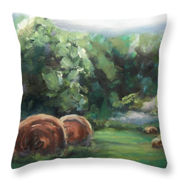 Beliveau Hay Rolls Throw Pillow by Donna Tuten