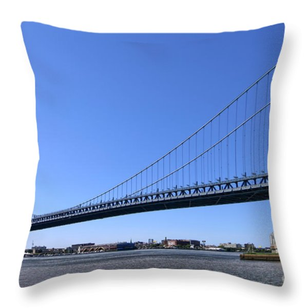 Ben Franklin Bridge Throw Pillow by Olivier Le Queinec