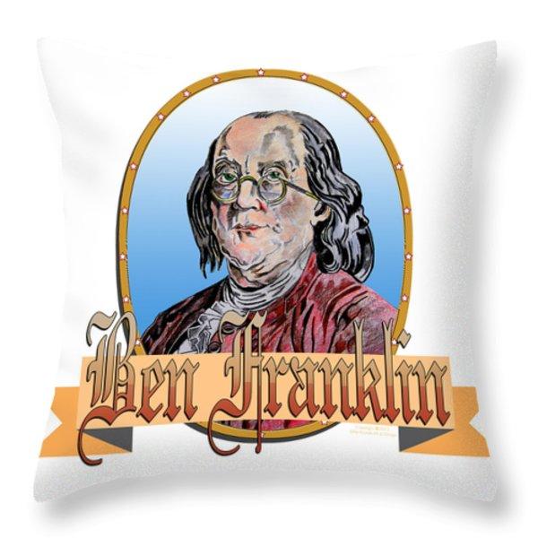Ben Franklin Throw Pillow by John Keaton