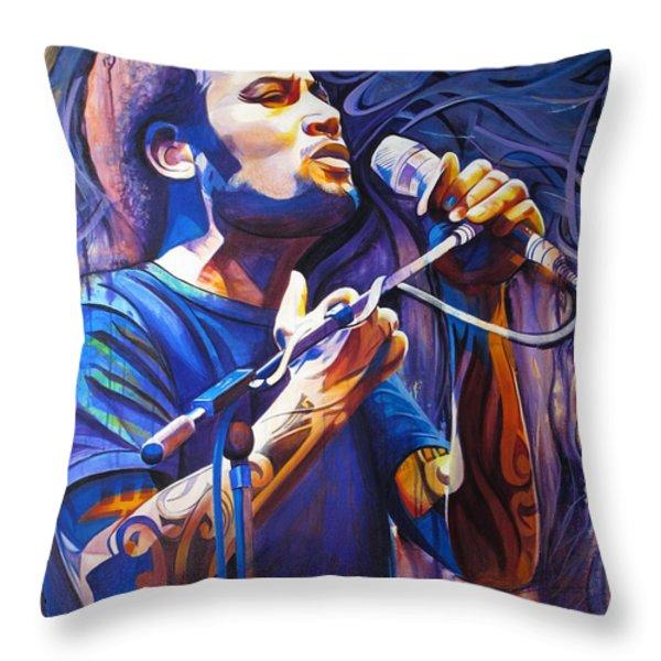 Ben Harper And Mic Throw Pillow by Joshua Morton