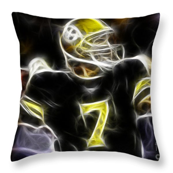 Ben Roethlisberger  - Pittsburg Steelers Throw Pillow by Paul Ward