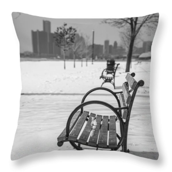 Bench at Belle Isle with Detroit i Throw Pillow by John McGraw