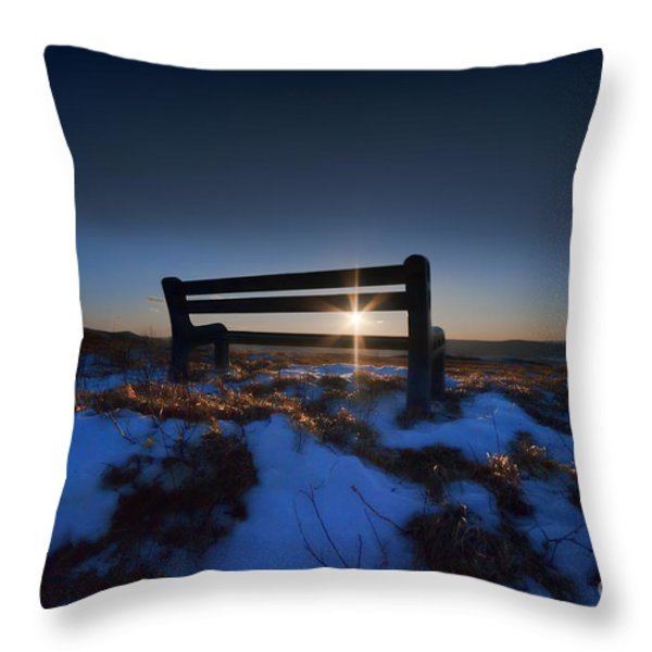 Bench On Top Of Mountain At Sunset Throw Pillow by Dan Friend