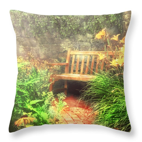 Bench - Privacy Throw Pillow by Mike Savad