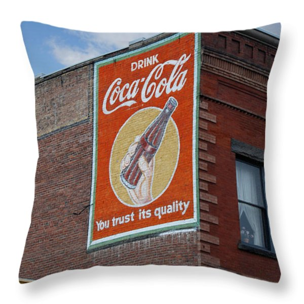 Bend Oregon Coke Sign Throw Pillow by Gary Grayson