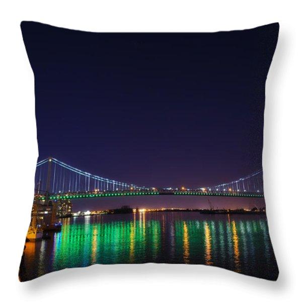 Benjamin Franklin Bridge at Night from Penn's Landing Throw Pillow by Bill Cannon