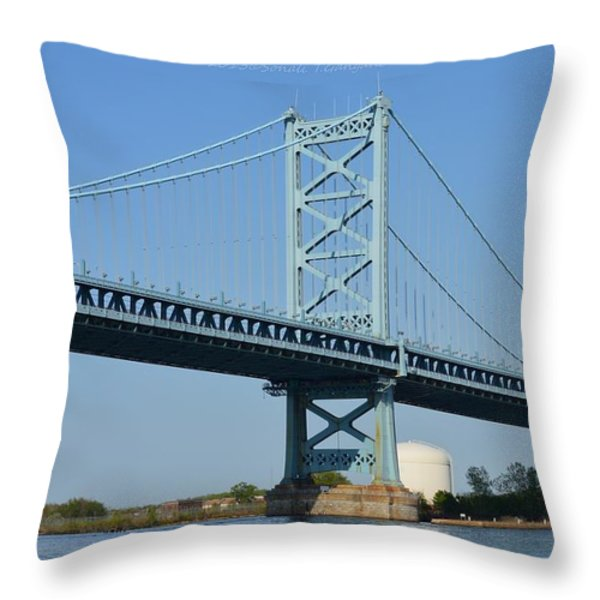 Benjamin Franklin Bridge Throw Pillow by Sonali Gangane