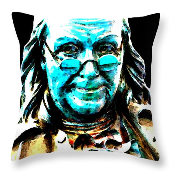 Benjamin Franklin - Historic Figure Pop Art By Sharon Cummings Throw Pillow by Sharon Cummings
