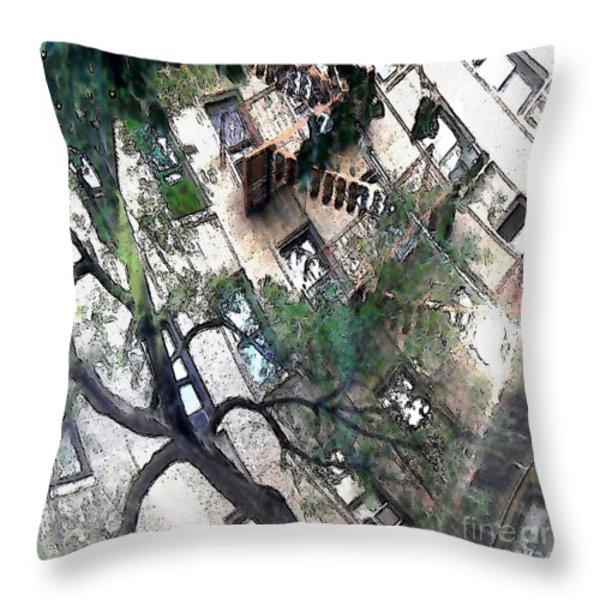 Bennett Avenue Fire Escape Throw Pillow by Sarah Loft