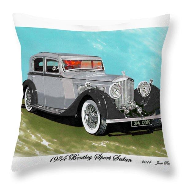 Bentley Sport Sedan 1934 Throw Pillow by Jack Pumphrey