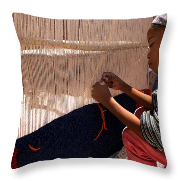 Berber Girl Working On Traditional Berber Rug Ait Benhaddou Southern Morocco Throw Pillow by Ralph A  Ledergerber-Photography