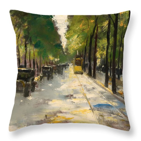 Berlin Street 1920s Throw Pillow by Ury