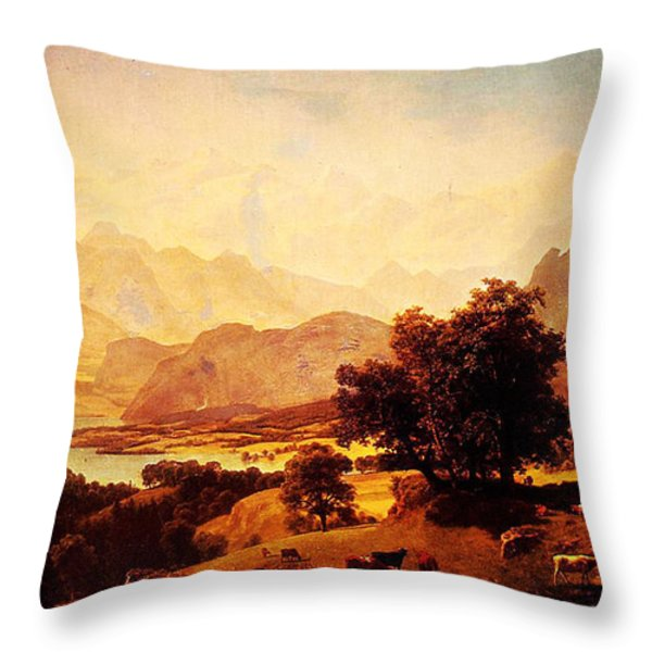 Bernese Alps As Seen Near Kusmach 1859 Throw Pillow by MotionAge Designs