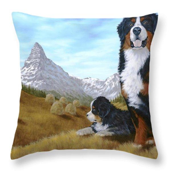 Bernese Mountain Dog Throw Pillow by Rick Bainbridge