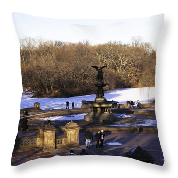 Bethesda Fountain 2013 - Central Park - NYC Throw Pillow by Madeline Ellis