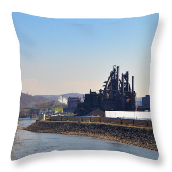 Bethlehem Steel and the Lehigh River Throw Pillow by Bill Cannon