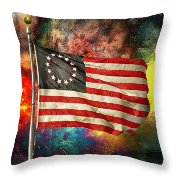 Betsy Ross Flag Throw Pillow by Steven  Michael
