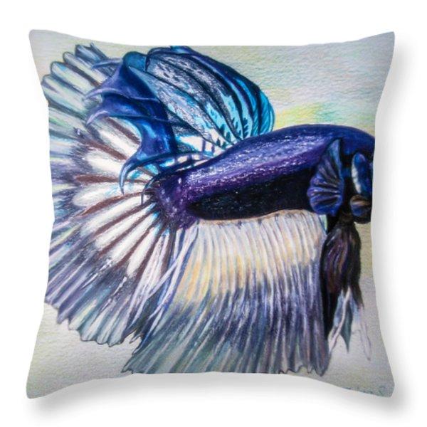 Betta Fish Throw Pillow by Zina Stromberg
