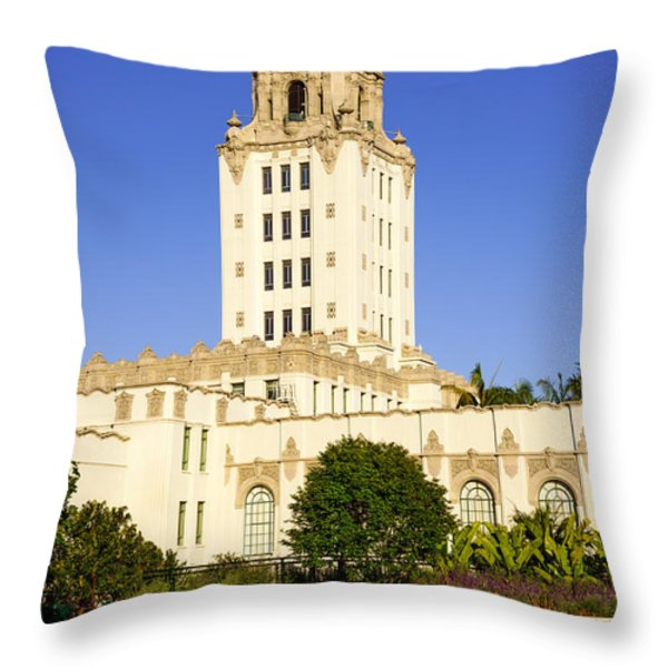 Beverly Hills Police Station Throw Pillow by Paul Velgos