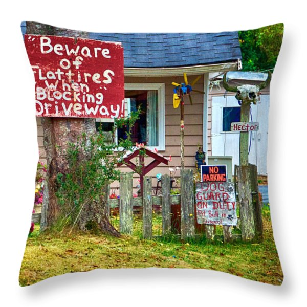 Beware Of Flat Tires Throw Pillow by Trever Miller