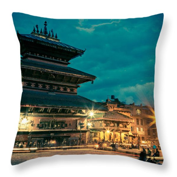 Bhaktapur At Night In Old Town Throw Pillow by Raimond Klavins