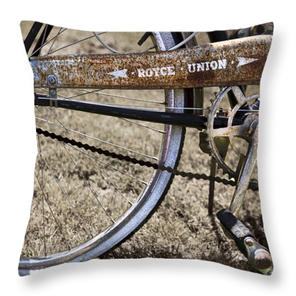 Bicycle Gears Throw Pillow by Debra and Dave Vanderlaan