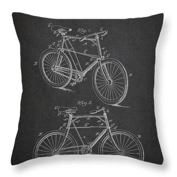 Bicycle Patent Throw Pillow by Aged Pixel
