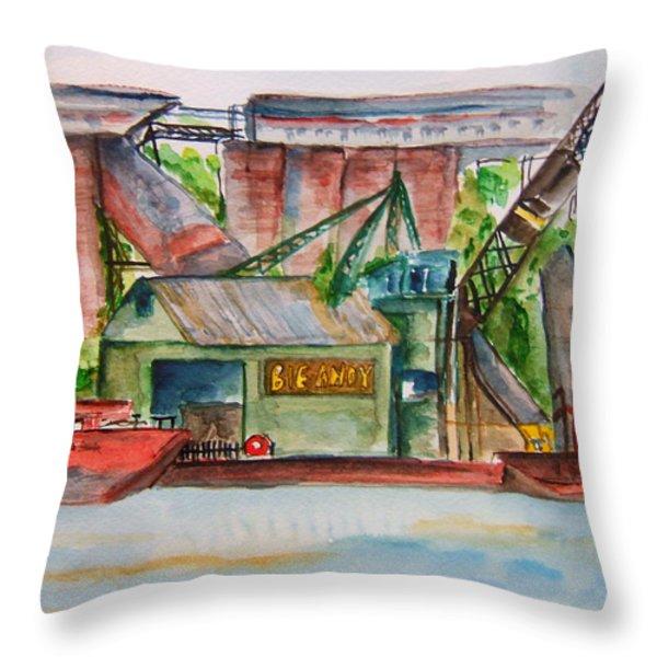 Big Andy Terminal On Ohio River Throw Pillow by Elaine Duras