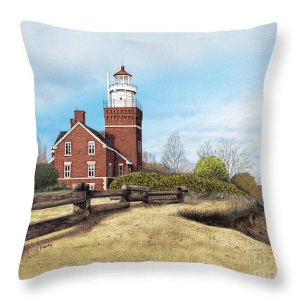 Big Bay Point Lighthouse Throw Pillow by Darren Kopecky
