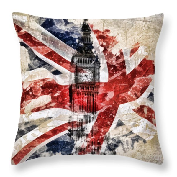 Big Ben Throw Pillow by Mo T