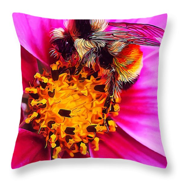 Big Bumble On Pink Throw Pillow by Bill Caldwell -        ABeautifulSky Photography