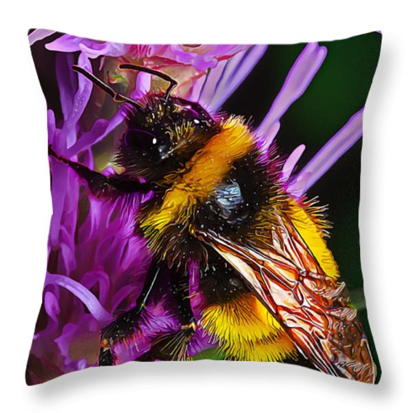 Big Dusty Bumble Throw Pillow by Bill Caldwell -        ABeautifulSky Photography